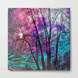 Purple teal forest Metal Print