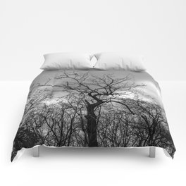 Witchy black and white tree Comforters