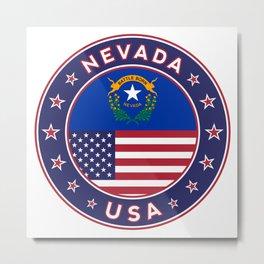 Nevada, USA States, Nevada t-shirt, Nevada sticker, circle Metal Print