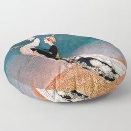 Art Deco White Peacock and Flapper Vintage Art Floor Pillow
