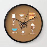 coffe Wall Clocks featuring Coffe Time! by Olga  Varlamova