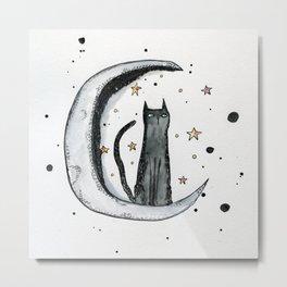 Inky Moon Cat Metal Print