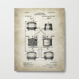 Beer patent print Drawing Metal Print