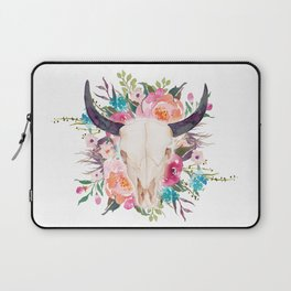 Watercolor bull skull with flower garland Laptop Sleeve