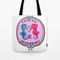 patriarchy Tote Bags featuring F**K The Patriarchy by Kittymacdraws