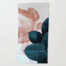 Blush & Blue Leaves Beach Towel