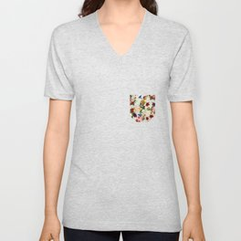 Flowery (white version) Unisex V-Neck