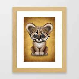 Cute Cougar Cub Wearing Reading Glasses on Yellow Framed Art Print