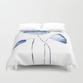indigo poppy watercolor Duvet Cover