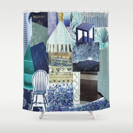 Collage - Feeling Blue Shower Curtain
