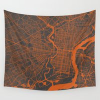 philadelphia Wall Tapestries featuring Philadelphia 2 by Map Map Maps