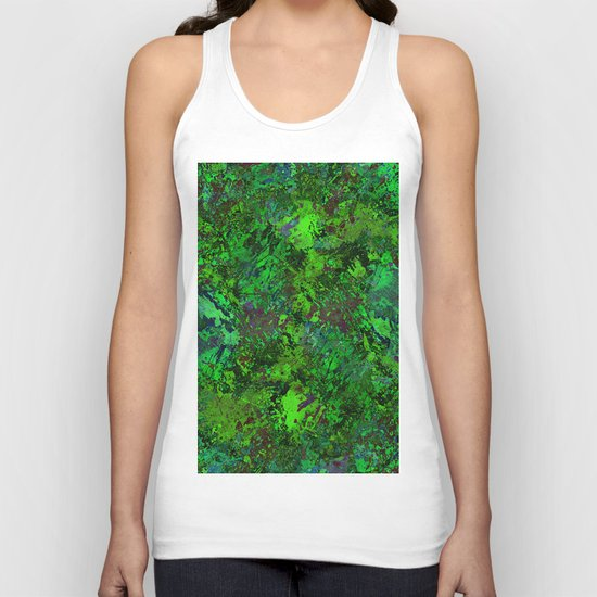 Lost In The Jungle - Abstract, green, jungle, foliage, leaves, forest themed artwork Unisex Tank Top