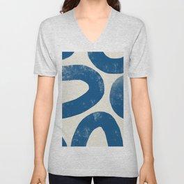 Blue Loops Abstract Art Unisex V-Neck