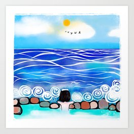 Onsen by the sea Art Print