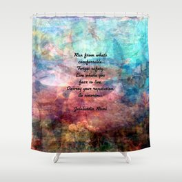 Challenging Fear Rumi Uplifting Quote With Beautiful Underwater Painting Shower Curtain