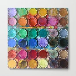 watercolor palette Digital painting Metal Print