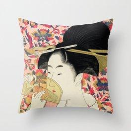 The Shy Girl Throw Pillow