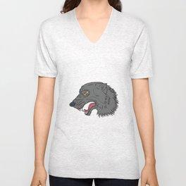 Grey Wolf Head Growling Drawing Unisex V-Neck