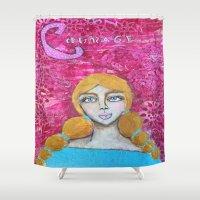 courage Shower Curtains featuring Courage by Leanne Schuetz Mixed Media Artist