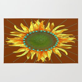 Southwest Turquoise-Brown Radiant Sunflower Art   Rug
