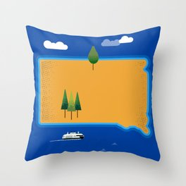South Dakota Island Throw Pillow