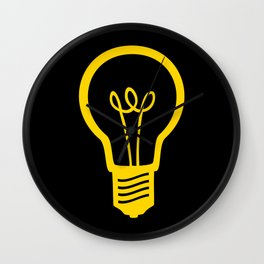 Yellow Lightbulb Wall Clock
