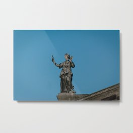 The Muse of Comedy Thalia atop the Clarendon Building Oxford University England Metal Print