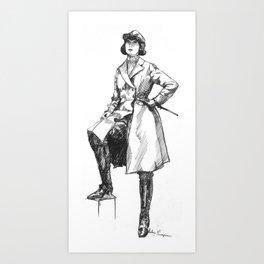 """""""Female Rider in Long Overcoat"""" Art Print"""