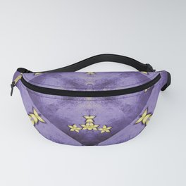 Rich purple texture with pretty gold flowers Fanny Pack
