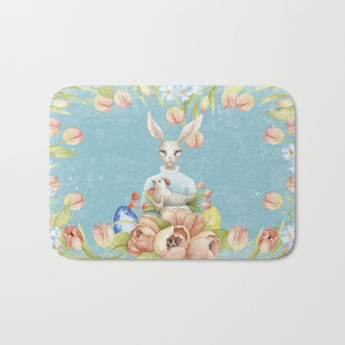 Beautiful Floral Flowers Female Animal Easter Bunny  on #Society6 Bath Mat