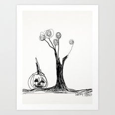 the pumpkin & the tree Art Print