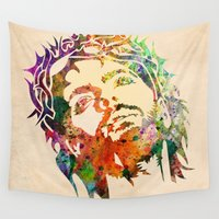 jesus Wall Tapestries featuring JESUS  by mark ashkenazi