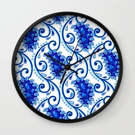 Paisley Porcelain blue and white Wall Clock
