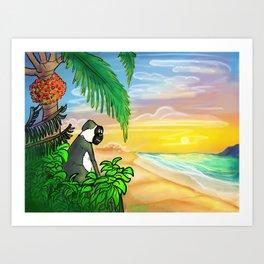 Green Vervet Monkey Nevis Sunset Art Print