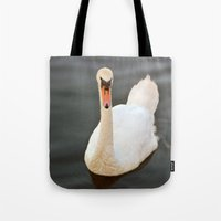 black swan Tote Bags featuring Swan by Lynn Bolt