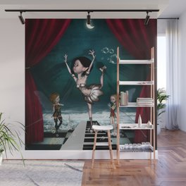 Cute fairy dancing on a piano on the beach Wall Mural