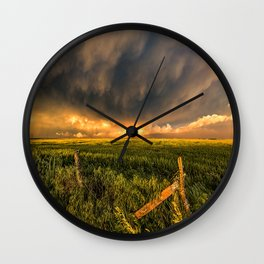 Breadbasket - Golden Light Illuminates Fence and Field in Kansas Wall Clock