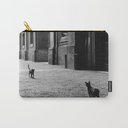 Two French Cats, Paris Left Bank black and white cityscape photograph / photography Carry-All Pouch