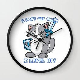 I DON T GET OLDER I LEVEL UP Cat Kitty Wall Clock