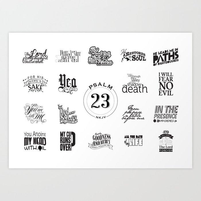 Typography Motivational Christian Bible Verses Poster - Psalm 23 Art Print