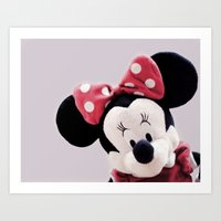 minnie mouse Art Prints featuring Minnie Mouse by Ning Watson
