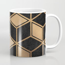Charcoal and Gold - Geometric Textured Cube Design II Coffee Mug
