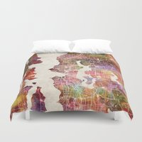 seattle Duvet Covers featuring Seattle by MapMapMaps.Watercolors