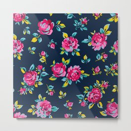 Raspberry Roses Metal Print