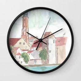 Landshut Bavaria Riverside With Isar City Wall And St-Martin Wall Clock
