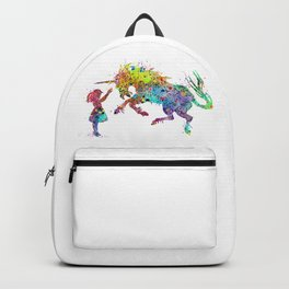 Girl and Unicorn Colorful Watercolor Kids Art Backpack