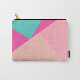 Pastel pink turquoise modern geometric color block pattern Carry-All Pouch