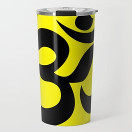 Black AUM / OM Reiki symbol on yellow background Travel Mug