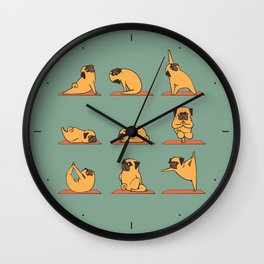 Pug Yoga Wall Clock