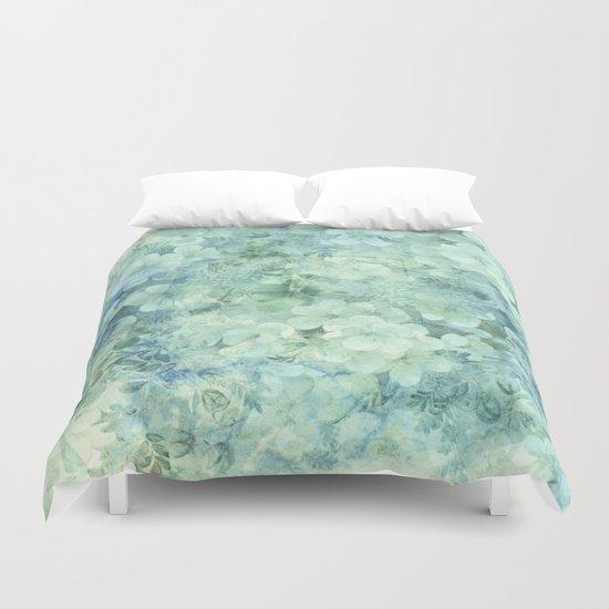 fleurettes and soft blue Duvet Cover